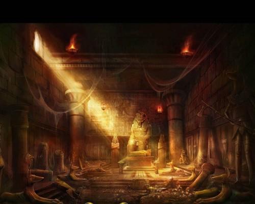 Egypt fantasy art ruins statues
